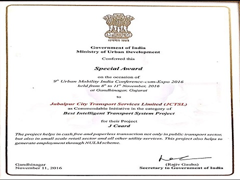 Special Awards(commendable initiative)  Under Best Intelligent Transport Service by GOI