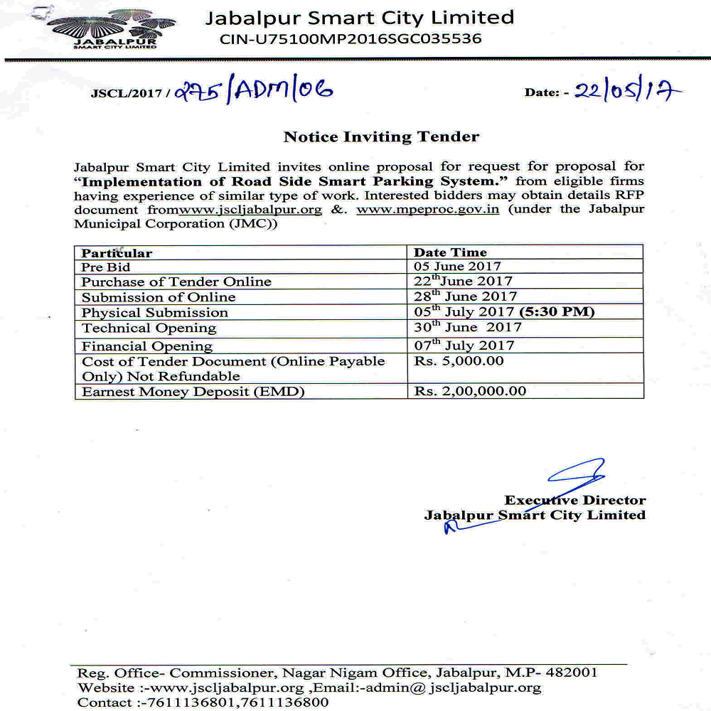 Implementation of Road Side Smart Parking System.Tender has been Cancelled