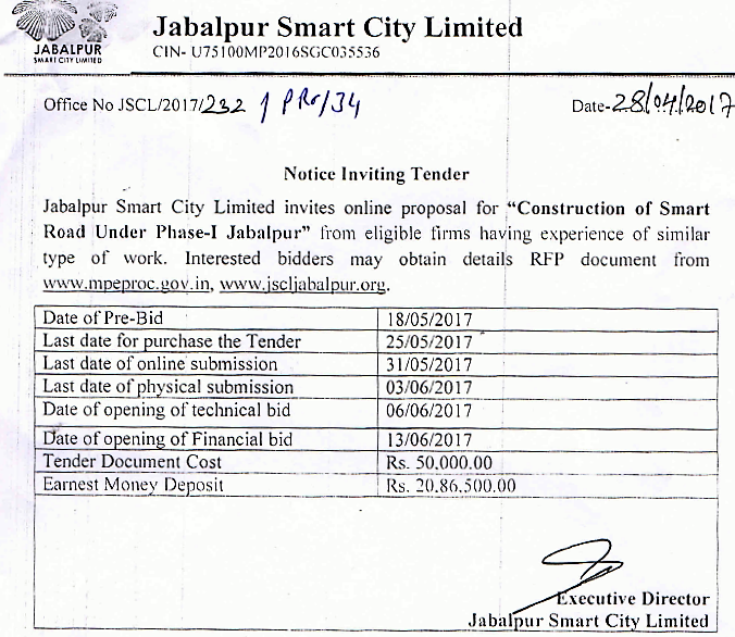 Construction of Smart Road Under Phase-I Jabalpur. Last Date of Purchase of Tender : 25-05-2017 and Last Date Submission of Document Online : 31-05-2017